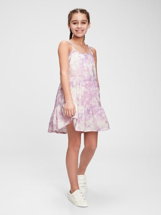 Kız Çocuk Pembe Tie-Dye Midi Elbise