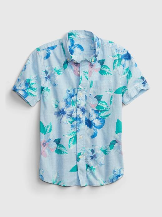 Erkek Çocuk Mavi Baskılı Gömlek