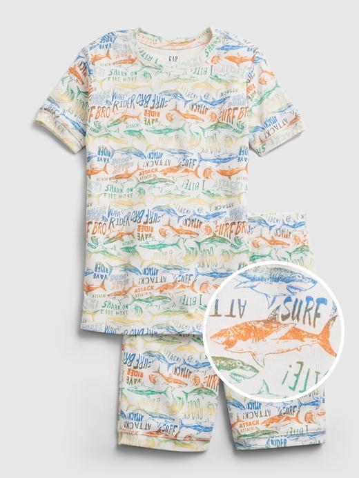 Erkek Çocuk Beyaz Organik Pamuk  Grafik Desenli Pijama Seti