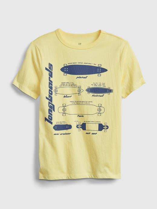 Erkek Çocuk Sarı Organik Pamuk  Grafik Desenli T-Shirt