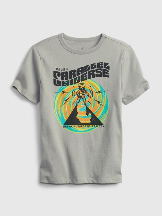 Erkek Çocuk Gri Organik Pamuk  Grafik Desenli T-Shirt