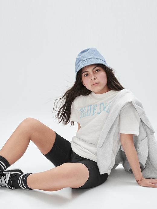 Kız Çocuk Beyaz Grafik Desenli Oversize T-Shirt