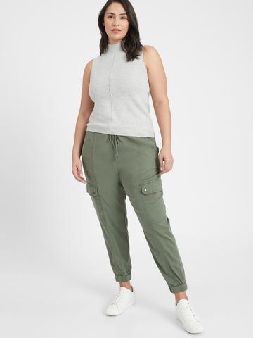 Kadın Yeşil Streç Kargo Jogger Pantolon
