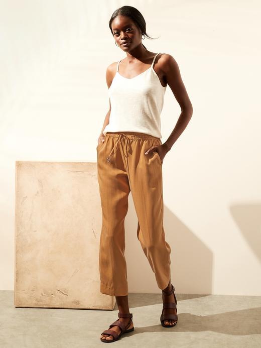 Kadın Sarı TENCEL™ Slim Pantolon