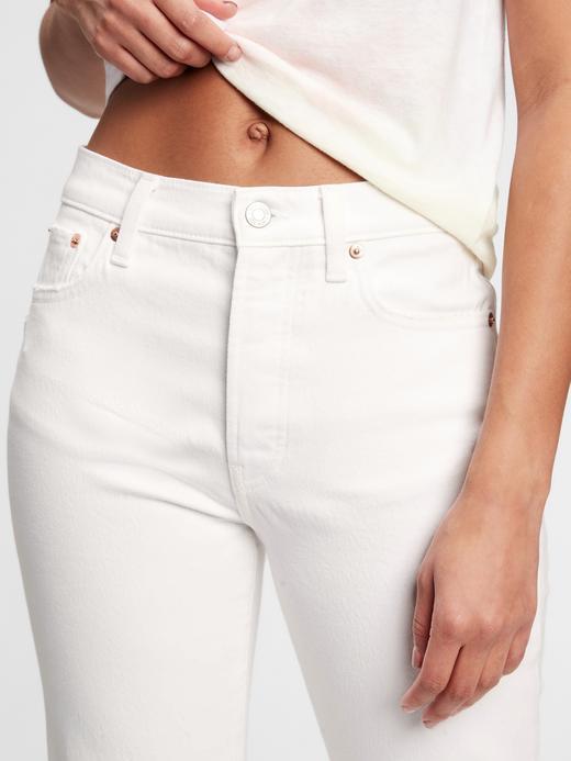 Kadın Beyaz High Rise Destructed Cheeky Straight Jean