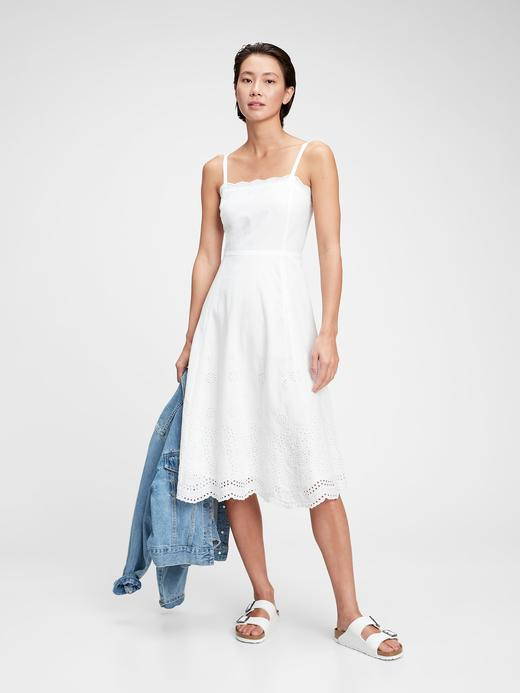 Kadın Beyaz Askılı Midi Elbise