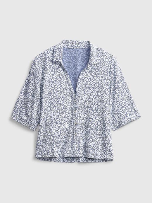 Kadın Mavi V Yaka Bluz