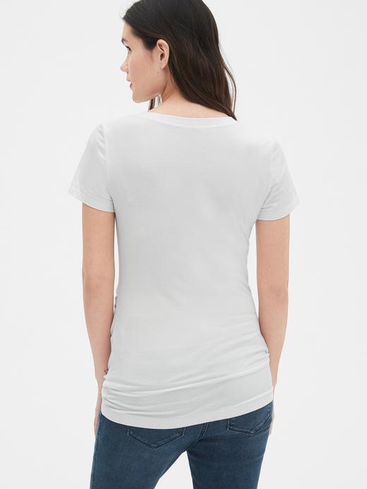 Beyaz Maternity V Yaka T-Shirt