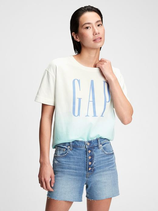 Kadın Mavi Gap Logo Crop T-Shirt