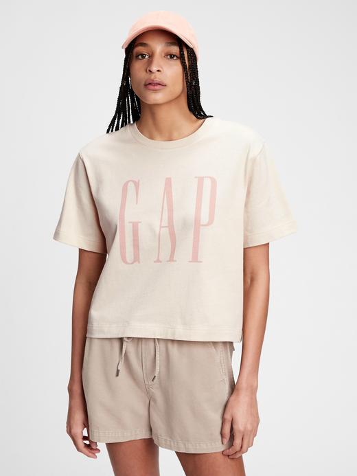 Kadın Bej Gap Logo Crop T-Shirt