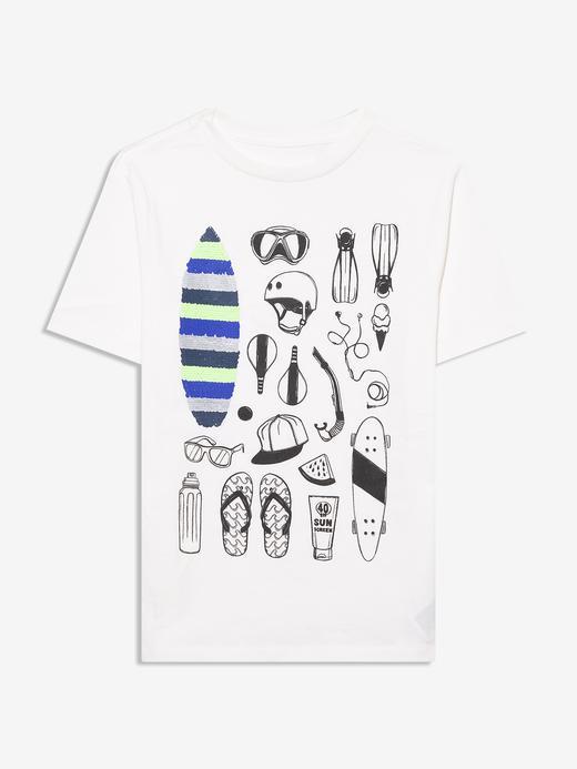 Erkek Çocuk Beyaz Grafik Desenli T-Shirt