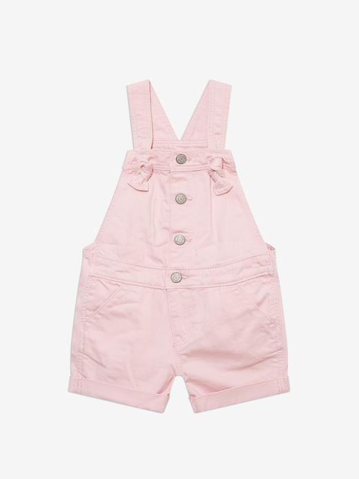 Kız Bebek Pembe Washwell™ Askılı Denim Tulum