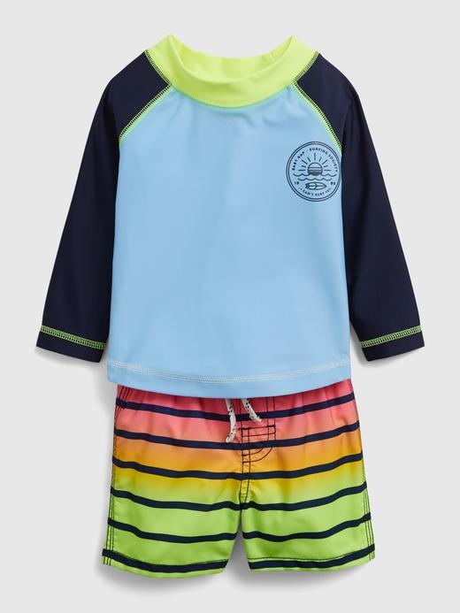 Erkek Bebek Mavi Mayo Seti