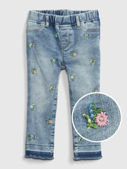 Kız Bebek Pembe Çiçek Desenli  Pull-On Jegging Pantolon