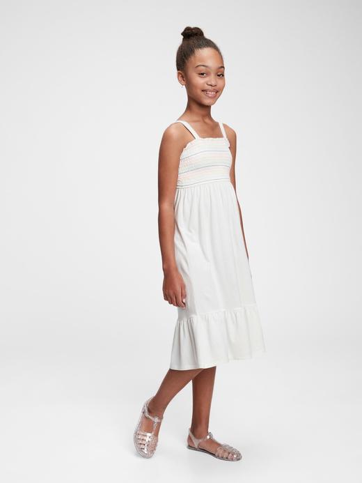 Kız Çocuk Beyaz Kız Çocuk Askılı Elbise