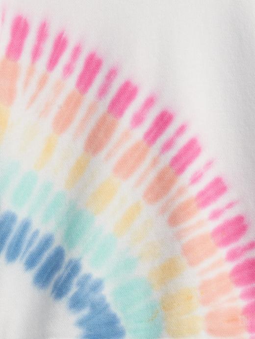 Kız Bebek Çok Renkli Tie-Dye Gökkuşağı Desenli Grafik Sweatshirt