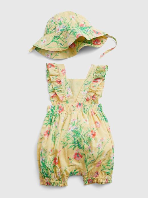 Kız Bebek Sarı Çiçek Desenli Tulum