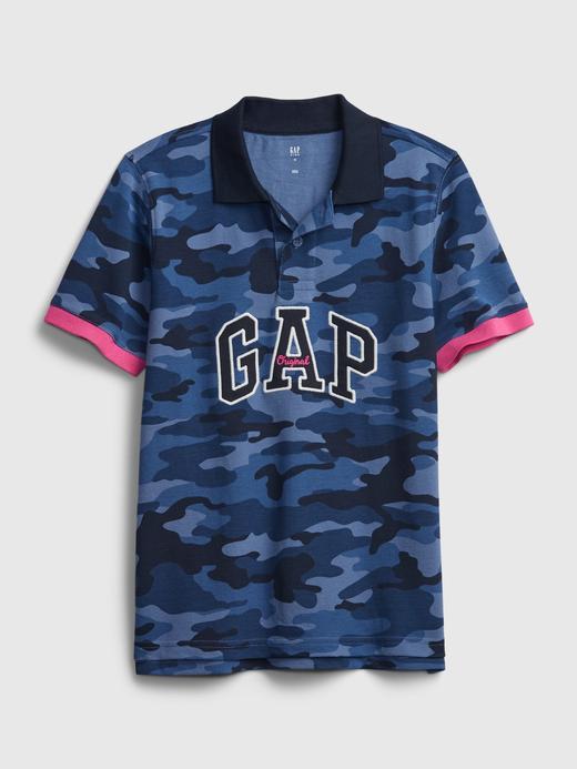 Erkek Çocuk Mavi Baskılı Pike Polo T-Shirt