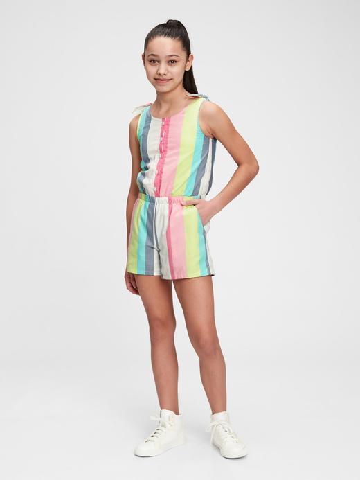 Kız Çocuk Çok Renkli Çizgili Tulum