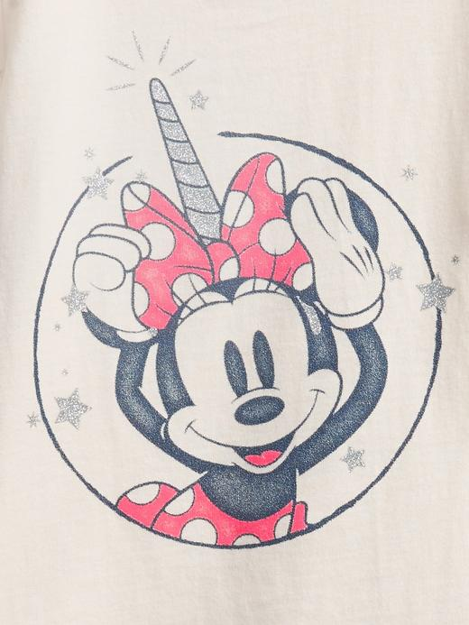 Kız Bebek Mavi Organik Pamuklu  Disney Minnie Mouse Desenli T-Shirt