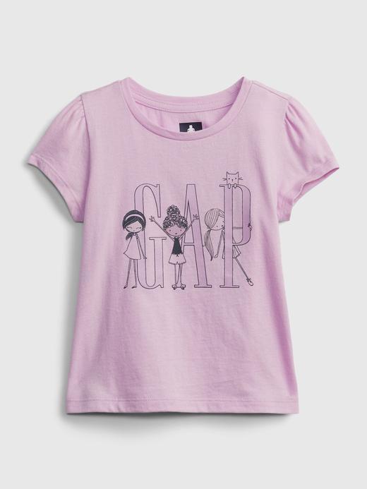 Kız Bebek Pembe Gap Logo Grafik Desenli T-Shirt