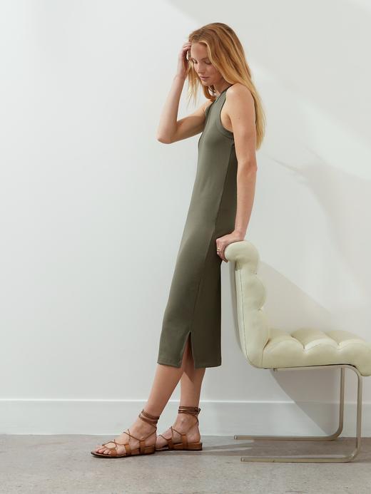Kadın Yeşil Fitilli Midi Elbise