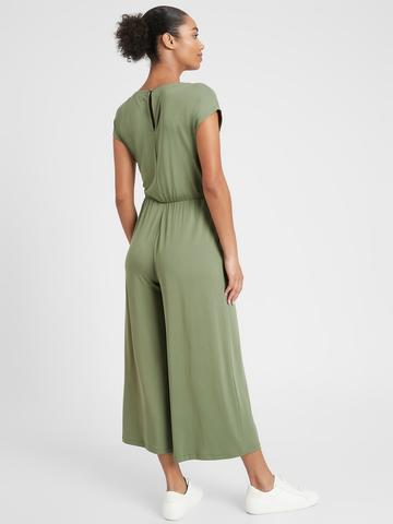 Kadın Yeşil Sandwash Bağlama Detaylı Cropped Tulum