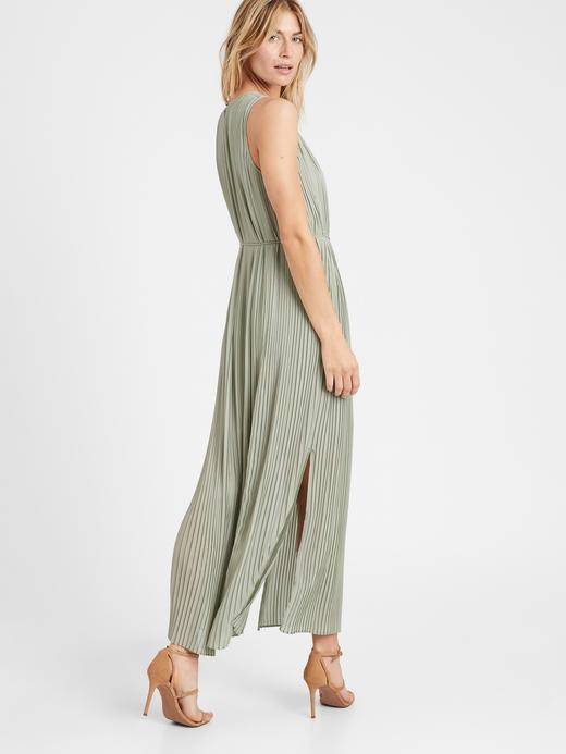 Kadın Yeşil Pileli Maxi Elbise