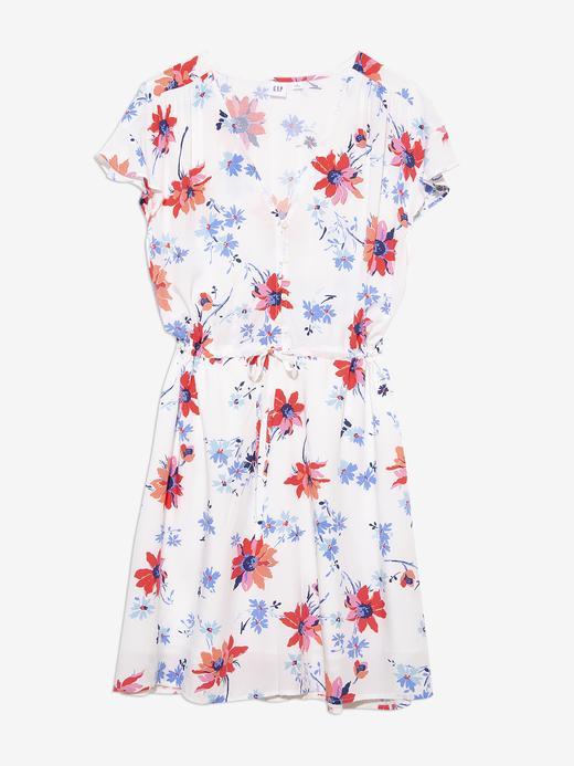 Kadın Beyaz Çiçek Desenli Elbise