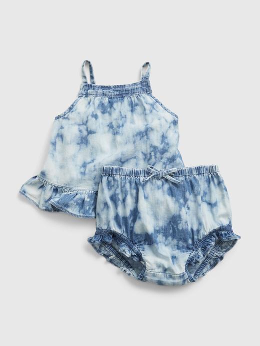 Kız Bebek Mavi Tie-Dye Denim Takım