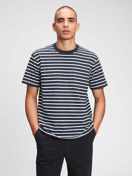 Erkek Lacivert Organik Pamuk  Grafik Desenli T-Shirt