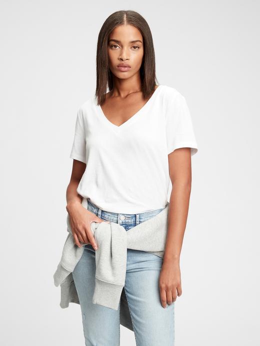 Kadın Beyaz Organik Pamuklu V Yaka T-Shirt