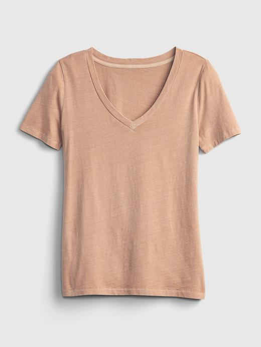 Kadın Siyah Organik Pamuklu V Yaka T-Shirt