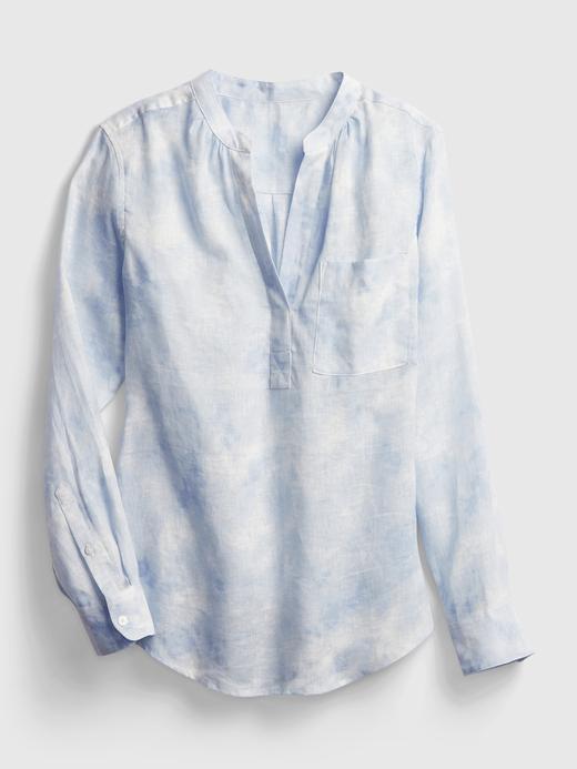 Kadın Mavi Tie-Dye  Keten Gömlek
