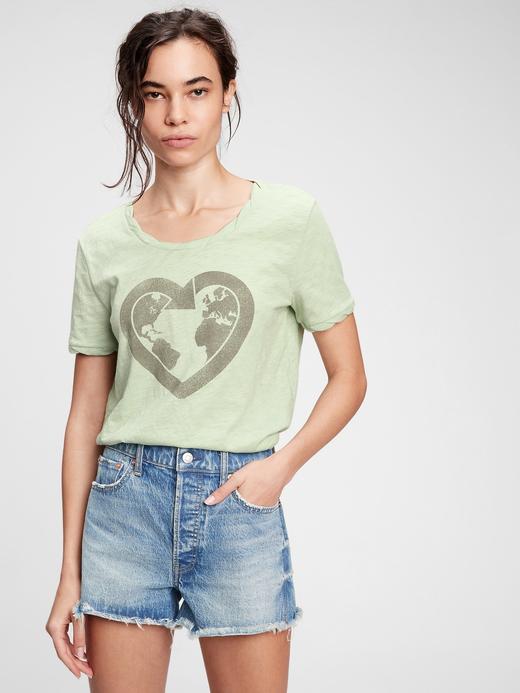 Kadın Yeşil Grafik Desenli T-Shirt