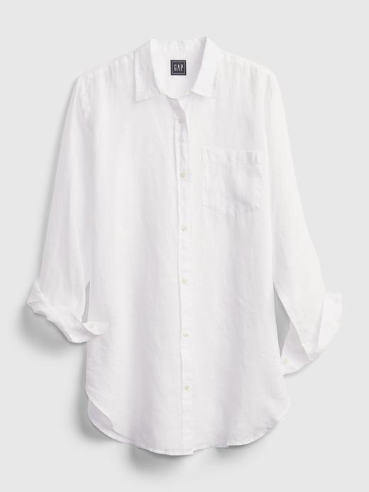 Kadın Pembe Oversize Keten Gömlek