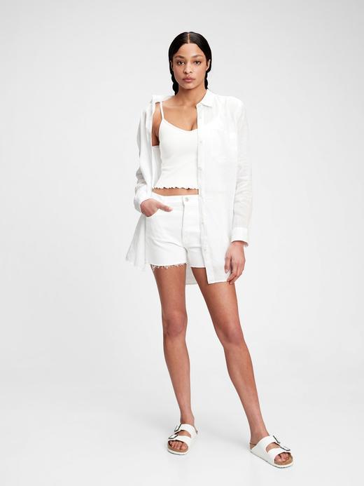 Kadın Beyaz Oversize Keten Gömlek