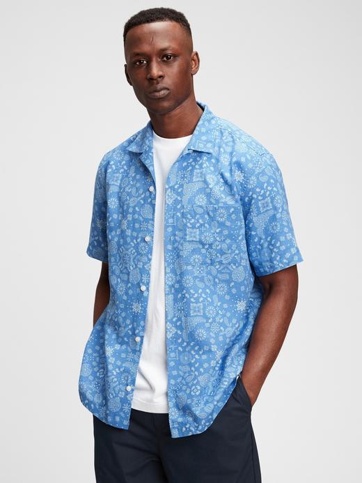 Erkek Mavi Desenli Gömlek