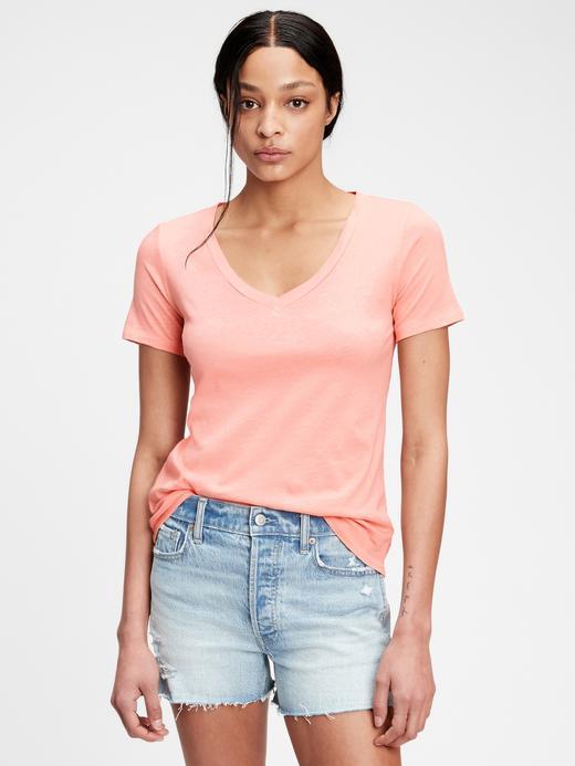 Kadın Pembe Organik Pamuklu V Yaka T-Shirt