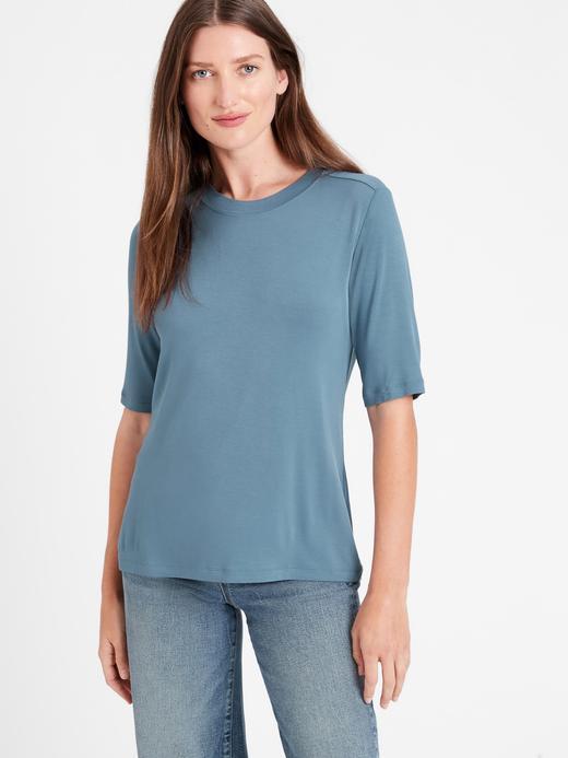 Kadın Mavi Threadsoft Kısa Kollu T-Shirt