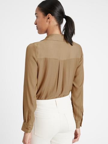 Kadın Kahverengi Kruvaze Bluz