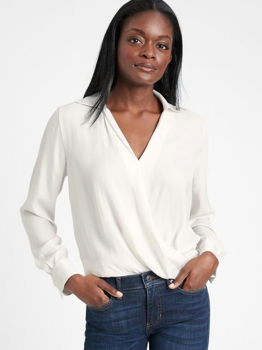Kadın Beyaz Kruvaze Bluz