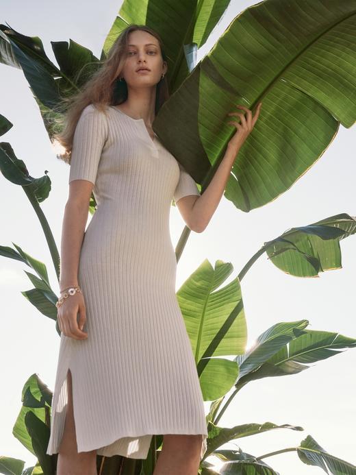 Kadın Beyaz Fitilli Midi Elbise