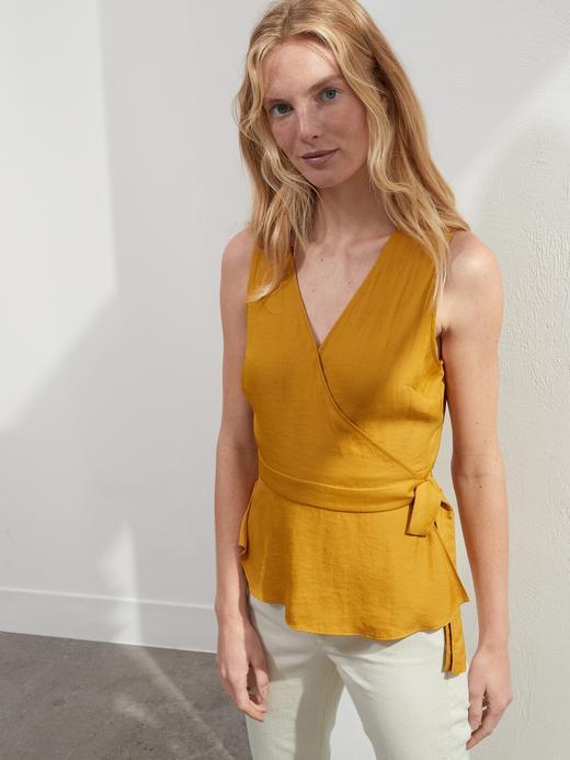 Kadın Sarı Kolsuz Kruvaze Bluz