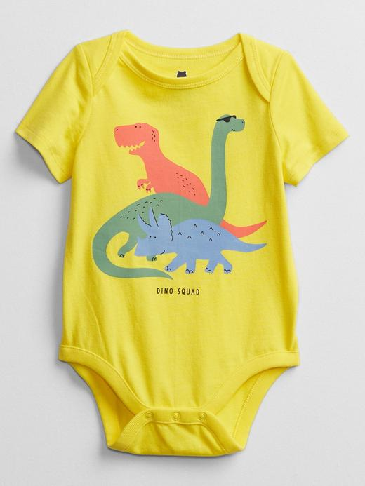 Erkek Bebek Sarı Grafik Desenli Body