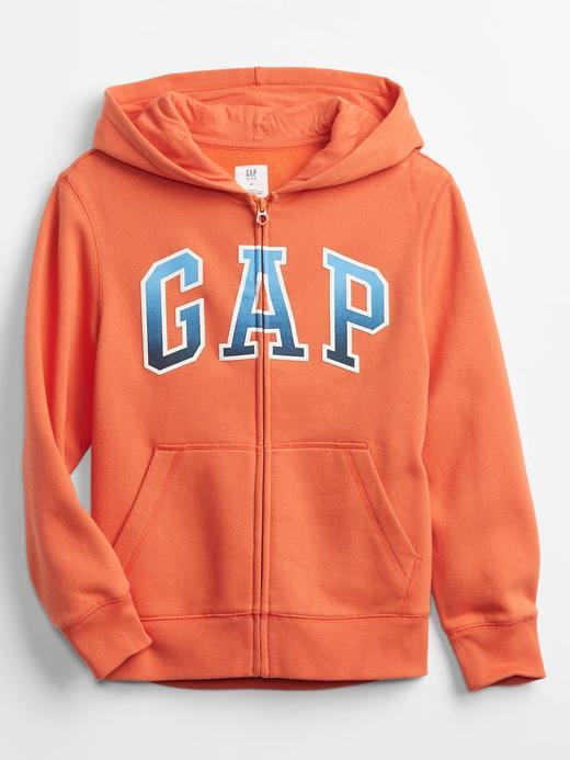 Erkek Çocuk Turuncu Gap Logo Kapüşonlu Sweatshirt