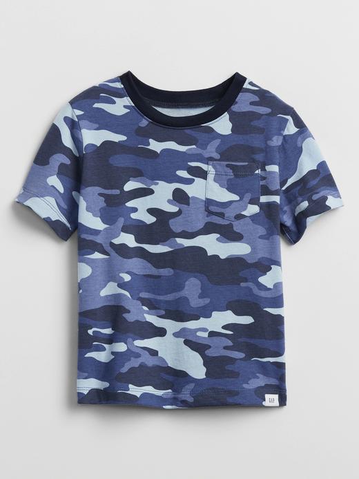 Erkek Bebek Lacivert Kamuflaj Desenli T-Shirt