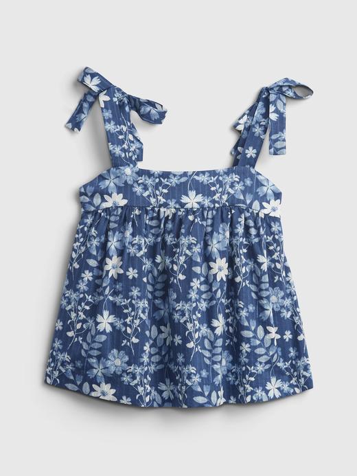 Kız Bebek Mavi İnce Askılı Çiçek Desenli Elbise