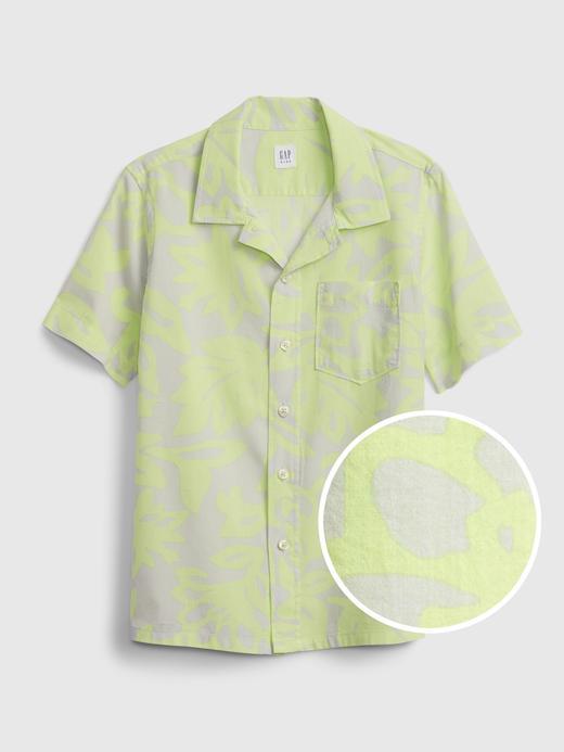 Erkek Çocuk Yeşil Baskılı Gömlek