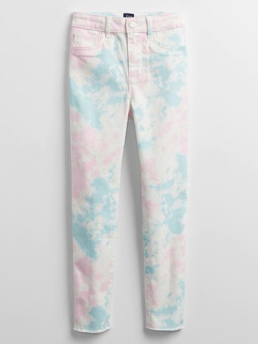 Kız Çocuk Mavi Tie-Dye Legging Jean Pantolon